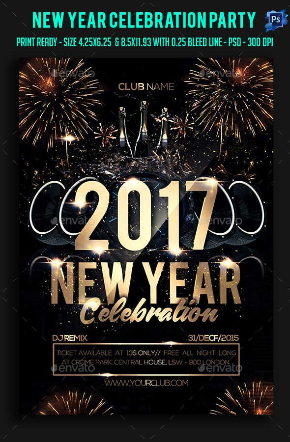 New Year Celebration Party Flyer | Party Flyer, Psd Templates And
