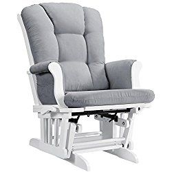 Angel Line Sleigh Reclining Nursery Glider Multi Position White With Gray Cushion