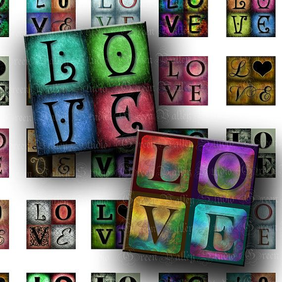 Digital Images Collage Sheet LOVE Words 2 Sizes One by greenvalley,