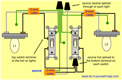 light source wiring diagram two switches control two lights electrical    light     two switches control two lights electrical    light