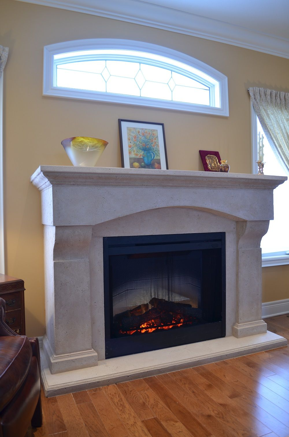Custom cast mantel with Dimplex BF39DXP electric fireplace ...