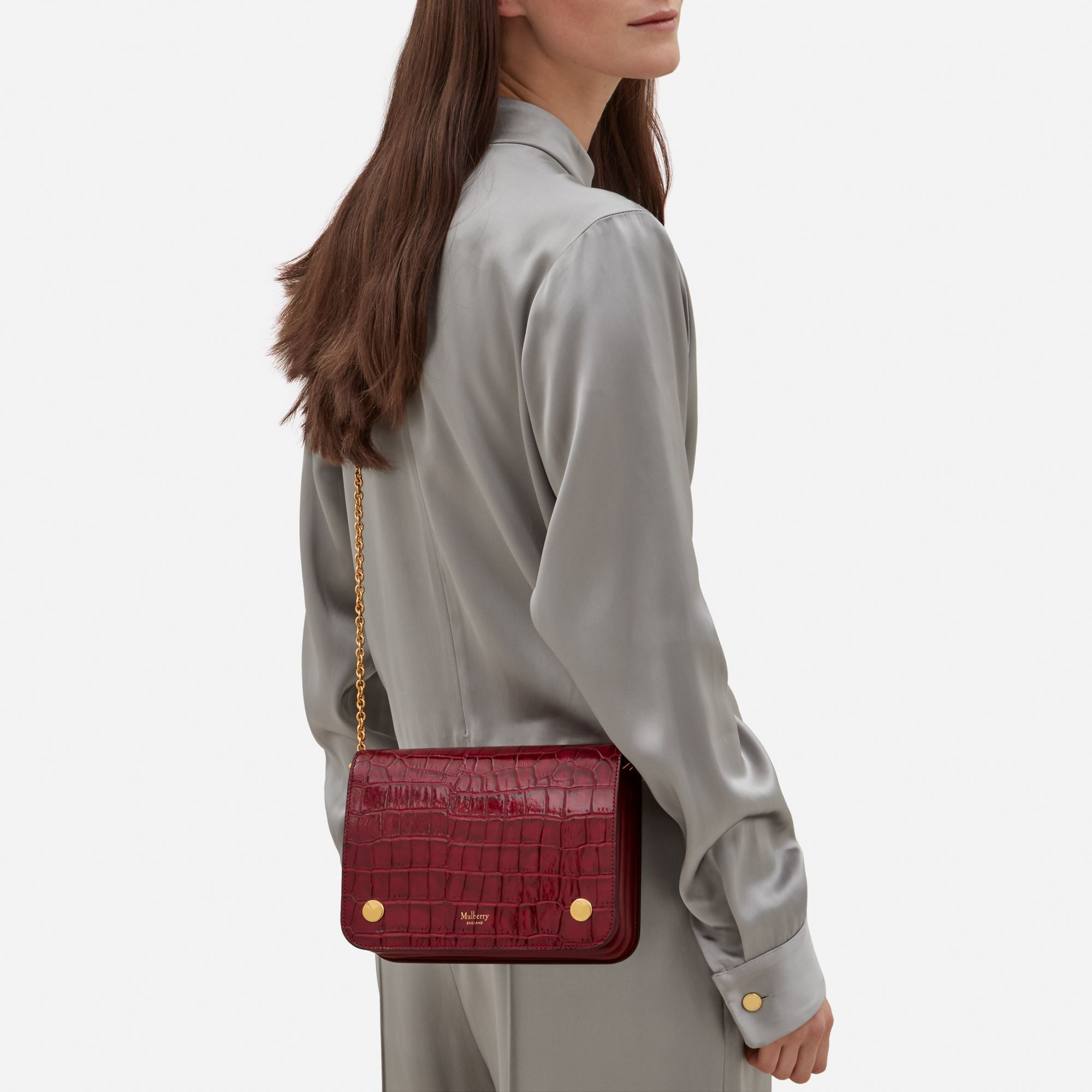 e48ebe4106e6 Shop the Clifton in Raspberry Croc Print Leather at Mulberry.com. A compact