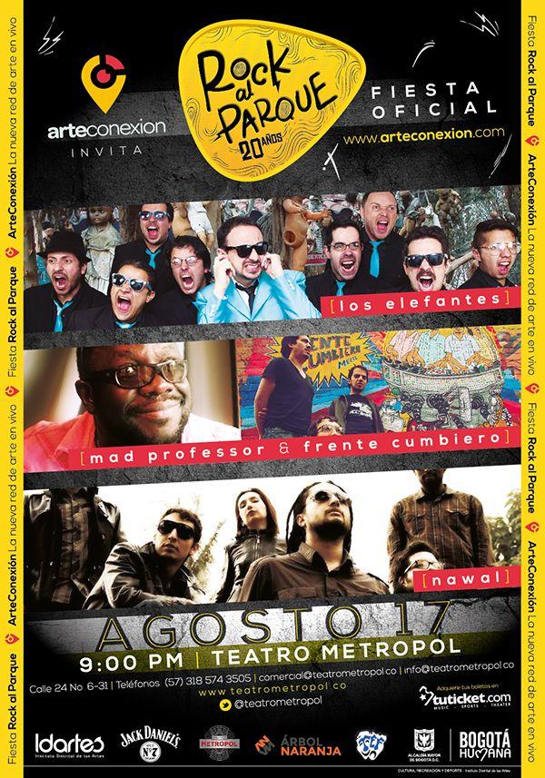 Afiche Fiesta Oficial Rock al Parque. Diseño: Oscar Zambrano. Bogotá, 2014.