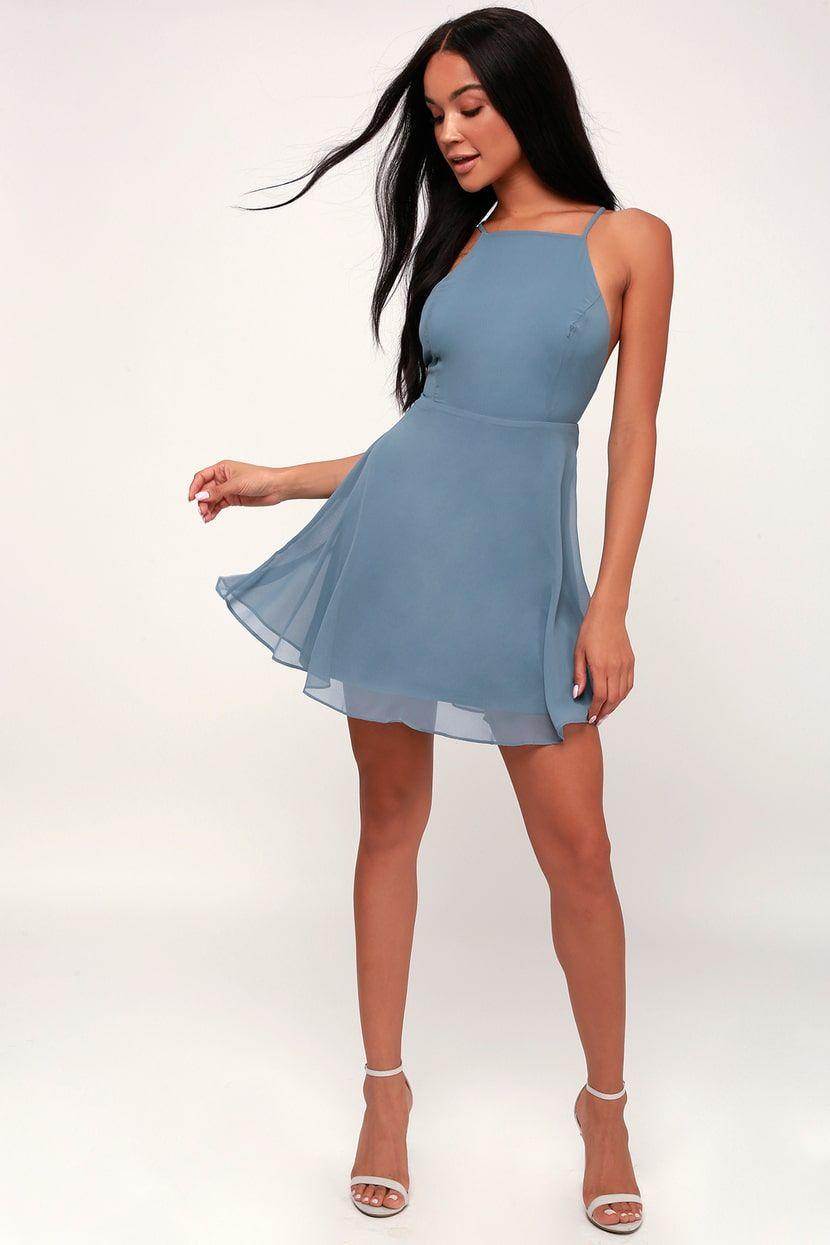 Letter of Love Slate Blue Backless Skater Dress