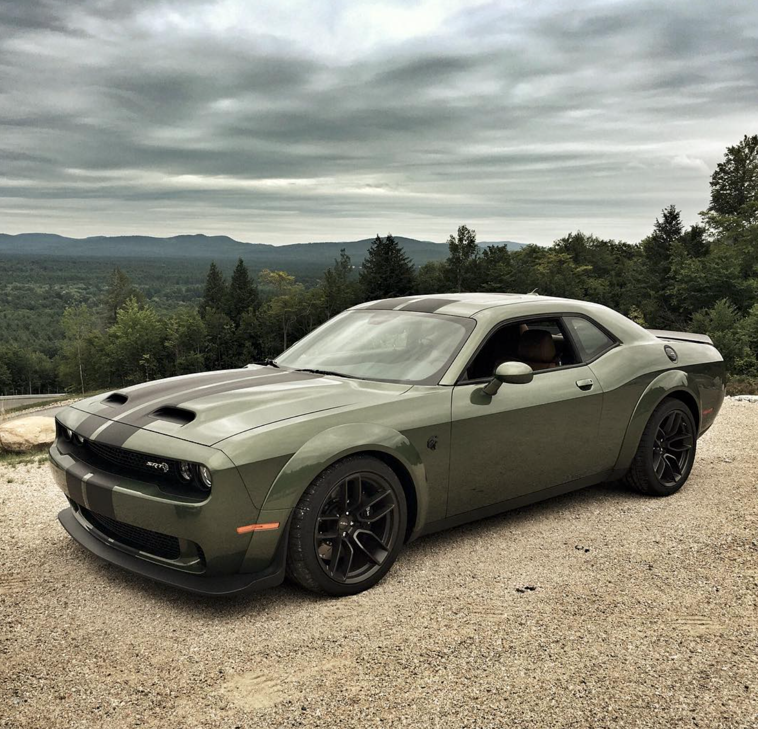 2019 Dodge Challenger Srt Hellcat Redeye In F8 Green With Dual Stripes Dodge Challenger Srt Hellcat Dodge Muscle Cars Challenger Srt Hellcat