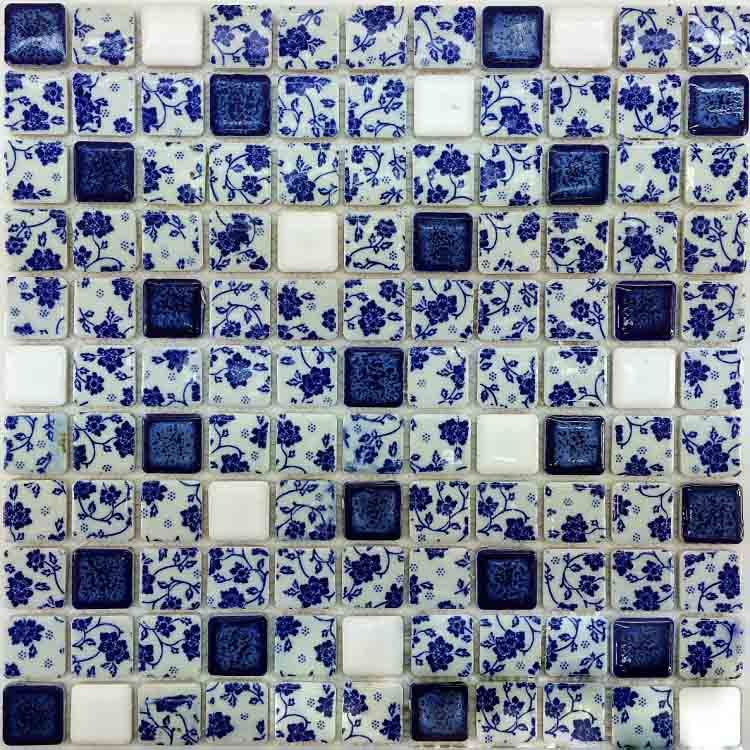 12x12 Porcelain Square Tile With Decorative Blue And White Flower Pattern Design For Kitchen Backsplash And Wall Cpt05 Flower Pattern Design Square Tile Pattern Design
