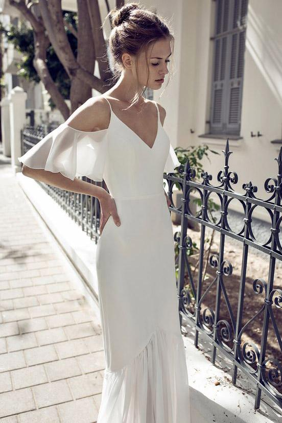White Spaghetti Straps V-neck Off-the-Shoulder Evening Dress