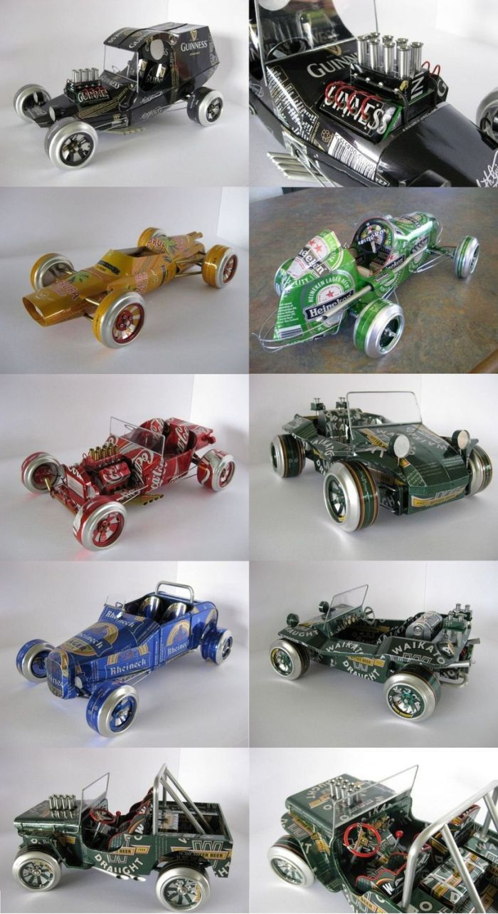 STRANGE COLLECTION OF TOY BEER CAN SPORTS CARS AND RACERS
