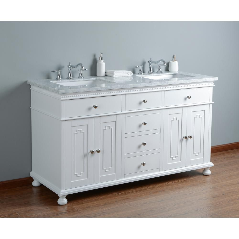 60 Inch White Double Sink Traditional Bathroom Vanity With Marble