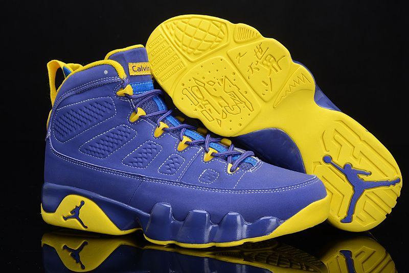 online store ce380 5514d ... Shoes Blue Yellow Air Jordan 9 Calvin Bailey Purple Yellow 302370 645  ...