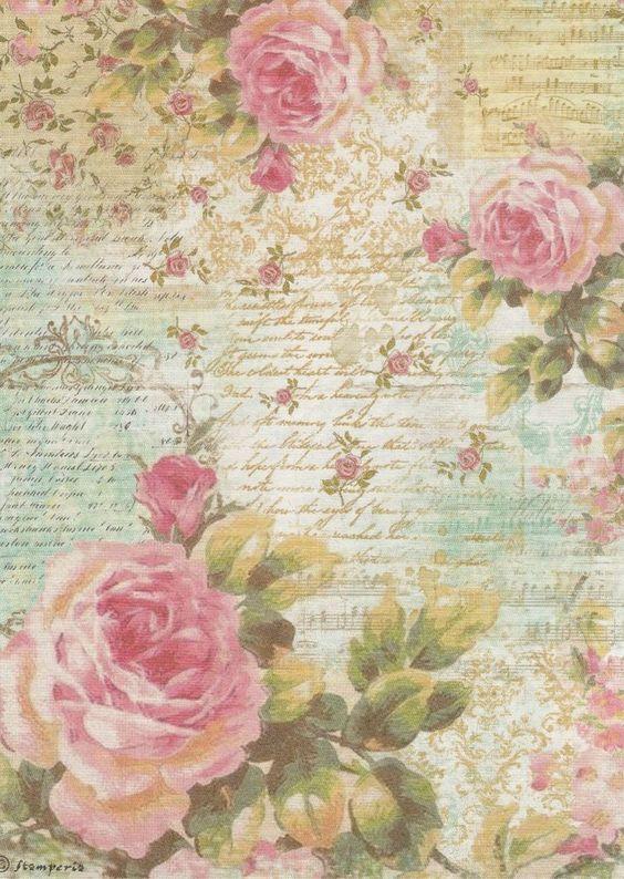 rice paper for decoupage decopatch scrapbook craft sheet music sheet roses. Black Bedroom Furniture Sets. Home Design Ideas