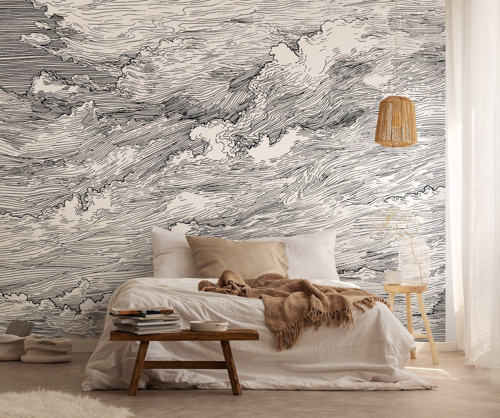 Drawn clouds retro wallpaper, removable wallpaper, self
