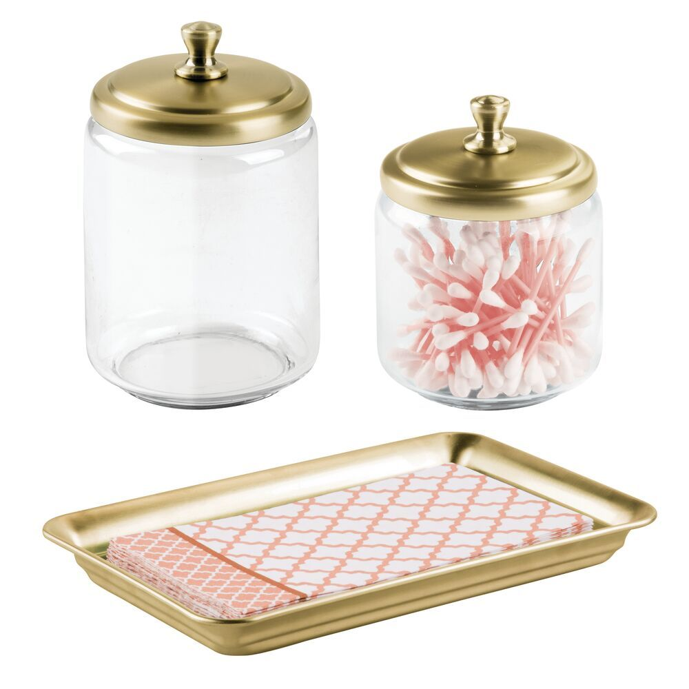Mdesign Glass Bathroom Storage Canister Jars And Metal Vanity Tray