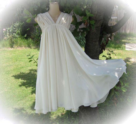 Boho Angel Dress white upcycled chiffon vintage