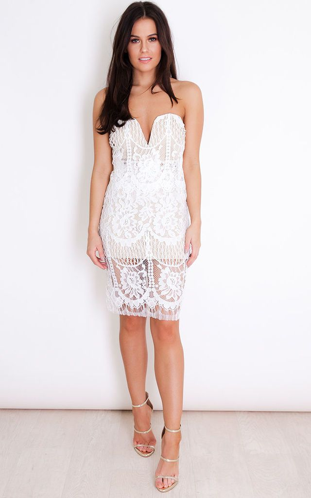 Alexis Lace Bandeau Frill Mini Dress White - SilkFred
