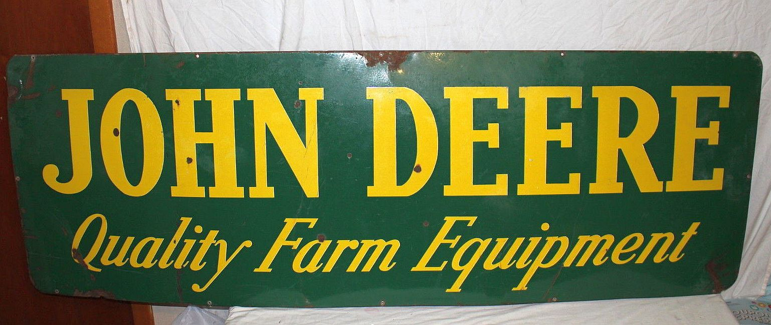 John Deere Antique Porcelain Sign (Old 1950 Vintage Farm Tractor ...