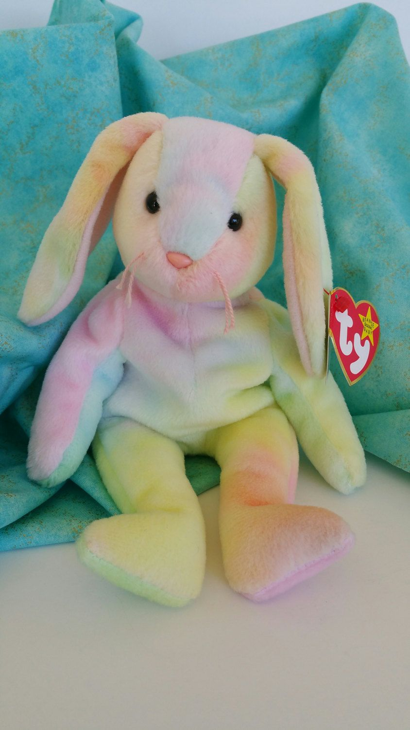 2e6ccb501c3 Hippie Tie Dye Bunny Rabbit Vintage TY Beanie Baby RARE Multi Color  Collectible Easter Decor Nursery Baby Shower Birthday Party Girl Spring by  ...