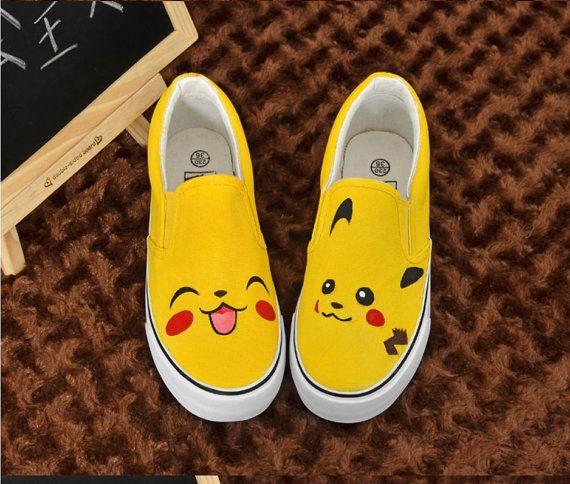 b967777b15e6 Pikachu hand painted shoes by paintedscanvas