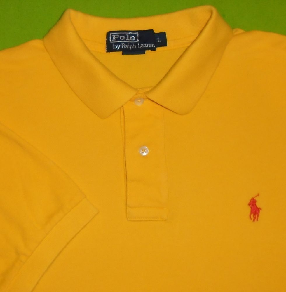 Men's Clothing Shirts Yellow Ralph Lauren Polo Shirt Men's Size L