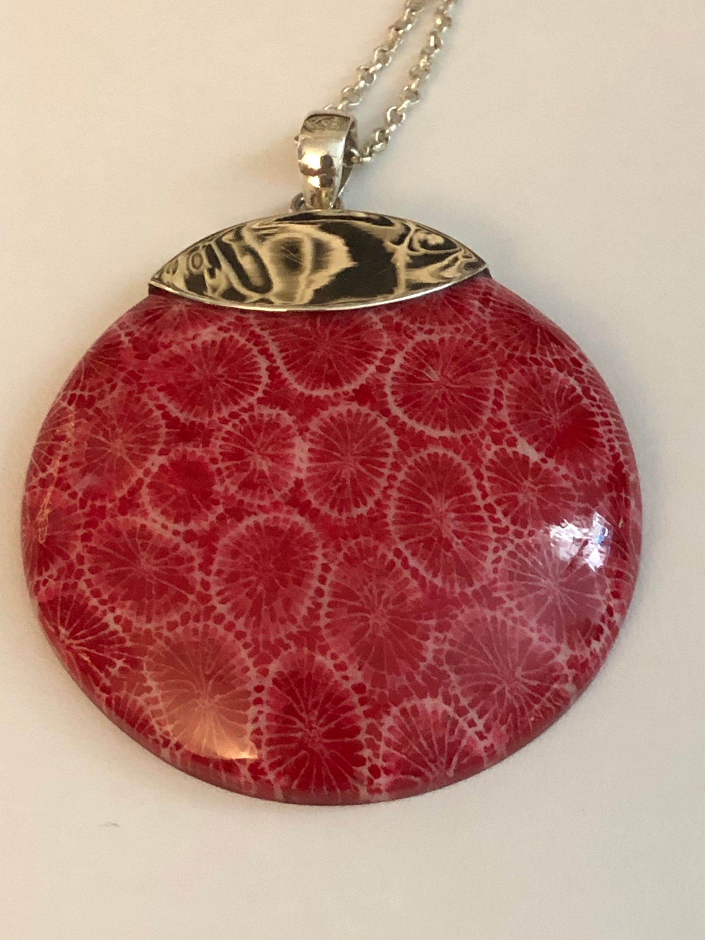 Vintage Square Red Coral and Solid Silver Pendant