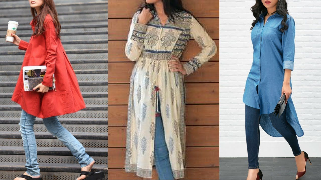 Latest Kurti/Kurta Designs To Wear With Jeans 2018 || Kurti With Jeans |... | Fashion Trends By ...