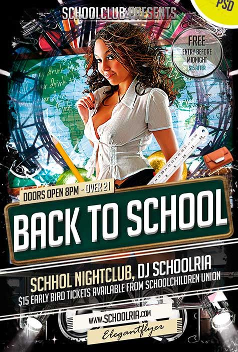 Back To School Club And Party Free Flyer Psd Template Http