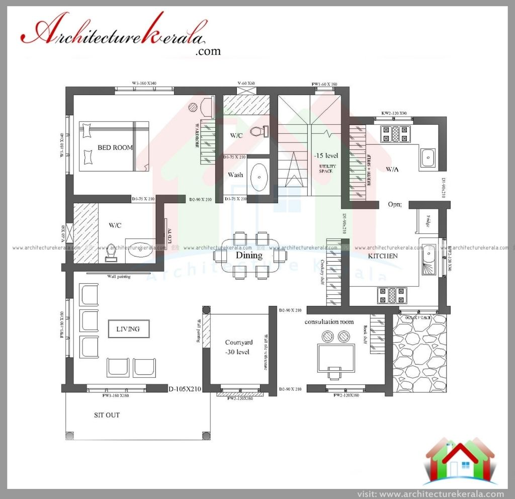House plan kerala 3 bedrooms three bedroom house small housessquare feethouse
