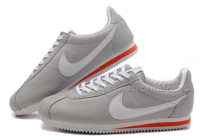 http: / / / nike cortez le calzature in cuoio grigio e bianco