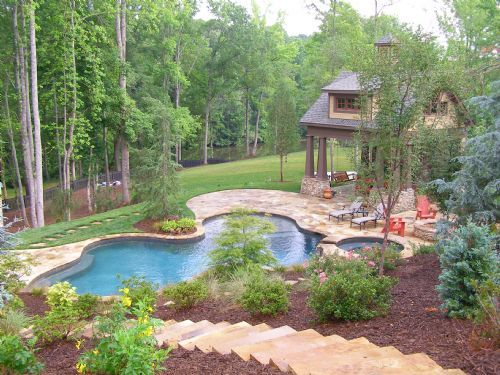 Stairs Down The Hill To The Pool Good Landscaping Idea