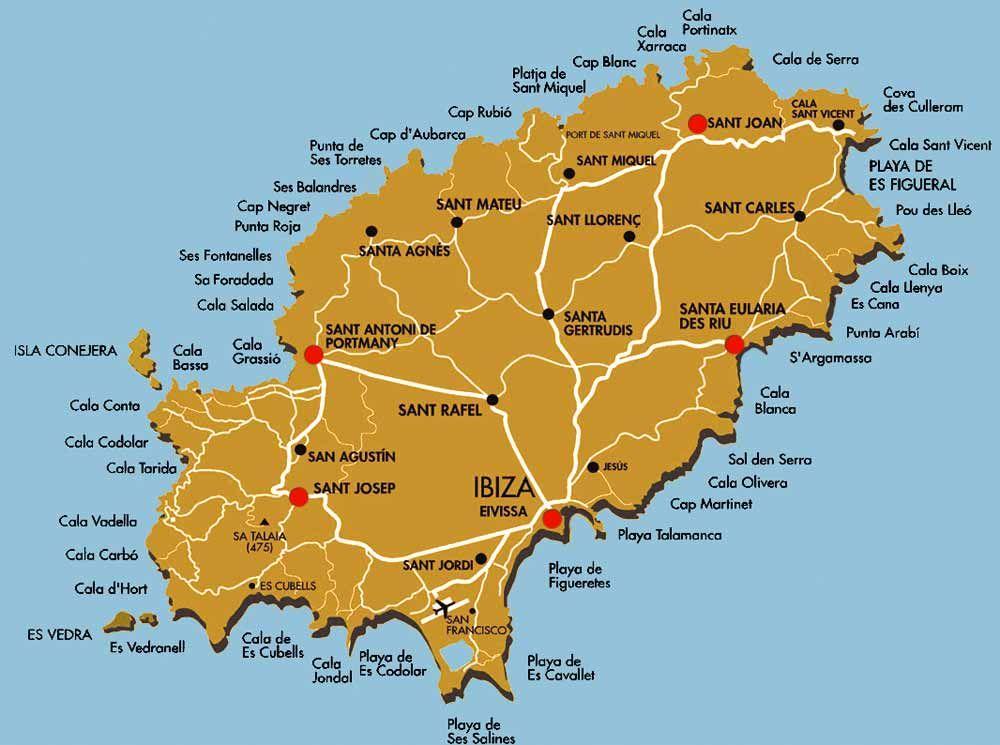 cartina costa ibiza - mappa spiagge Ibiza | Ibiza beaches | Ibiza ...