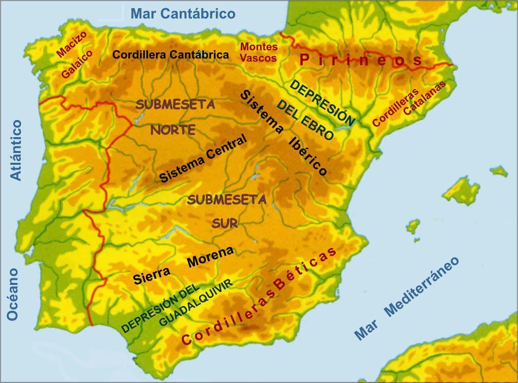 Meseta Montanas Y Depresiones De Espana Mapa De Espana Mapa