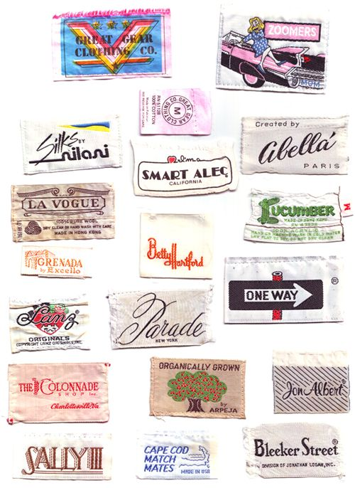 Clothing Tag Collection Collected By Kit French Clothing Tags Vintage Tags Woven Labels