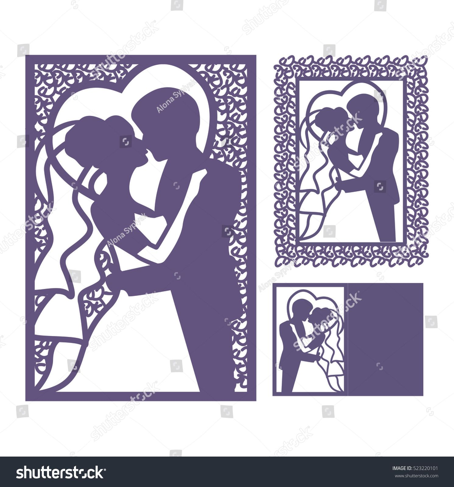 SAVE THE DATE CARDS Romantic Silhouette Couple Postcard with Envelopes