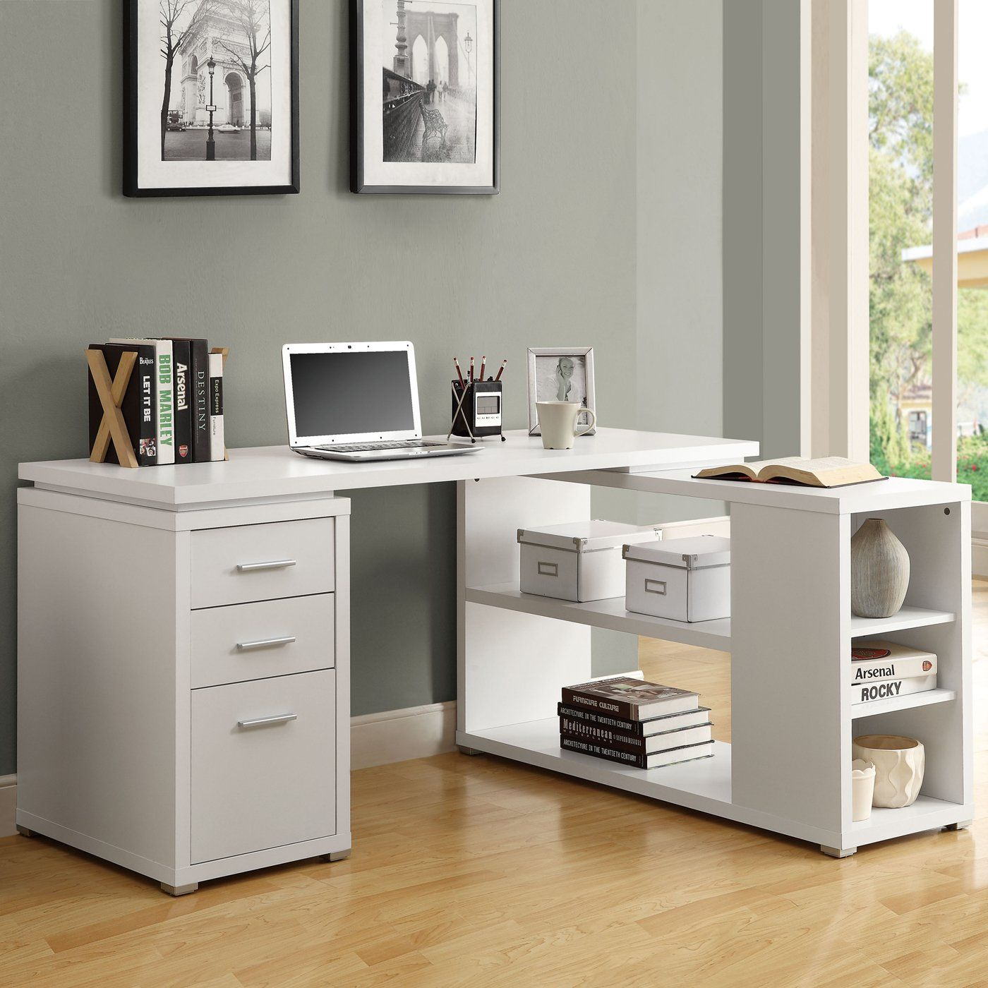 A white multifunctional desk that can be placed on the