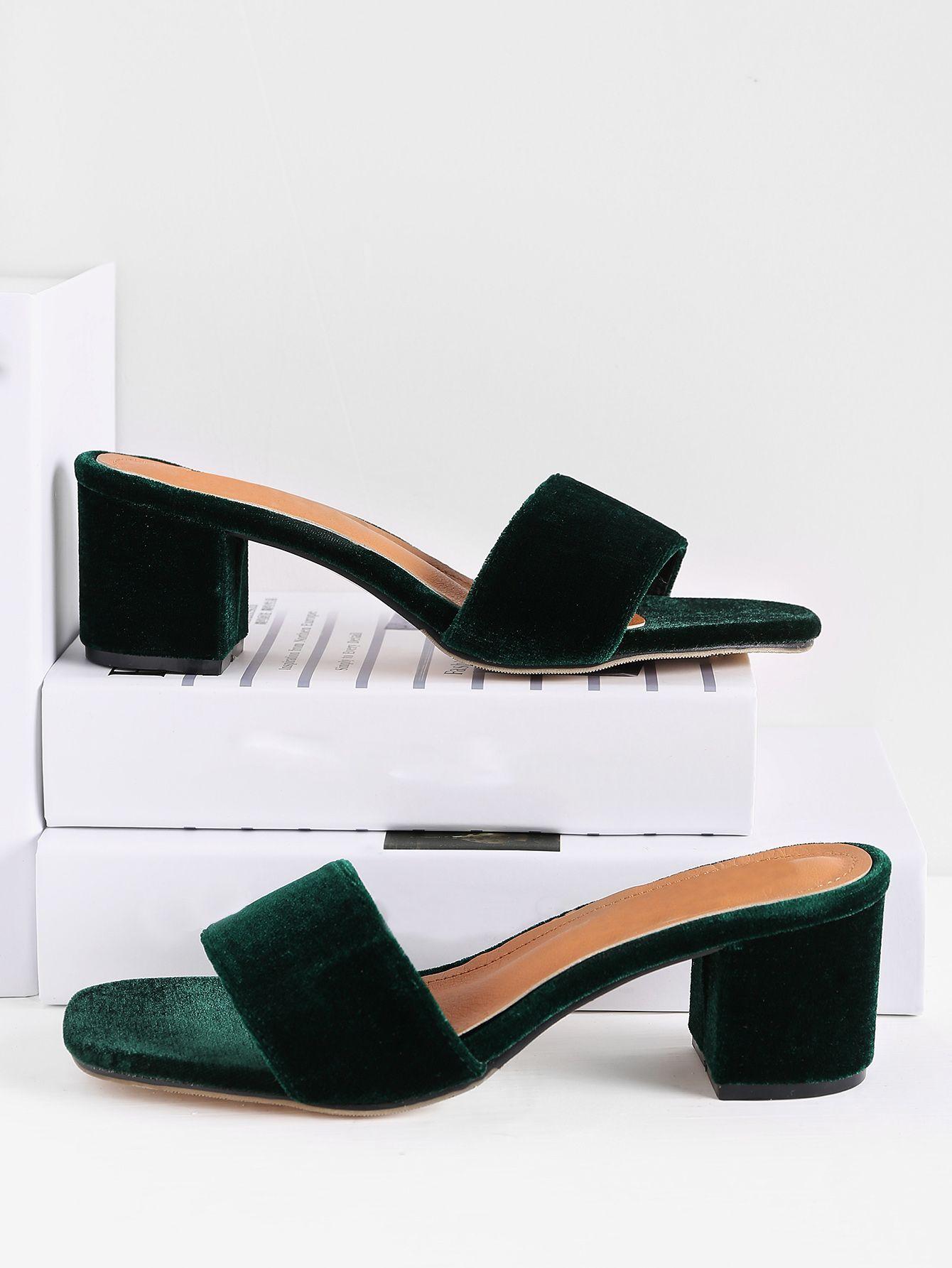 2cf0c74ba7ce Shop Velvet Block Heeled Sandals online. SheIn offers Velvet Block Heeled  Sandals   more to fit your fashionable needs.