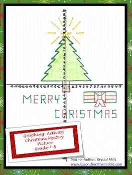A Christmas Mystery.Graphing Activity Christmas Mystery Picture Grade 7 8