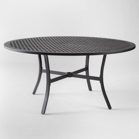Chester Aluminum Round Patio Dining Table Threshold Black