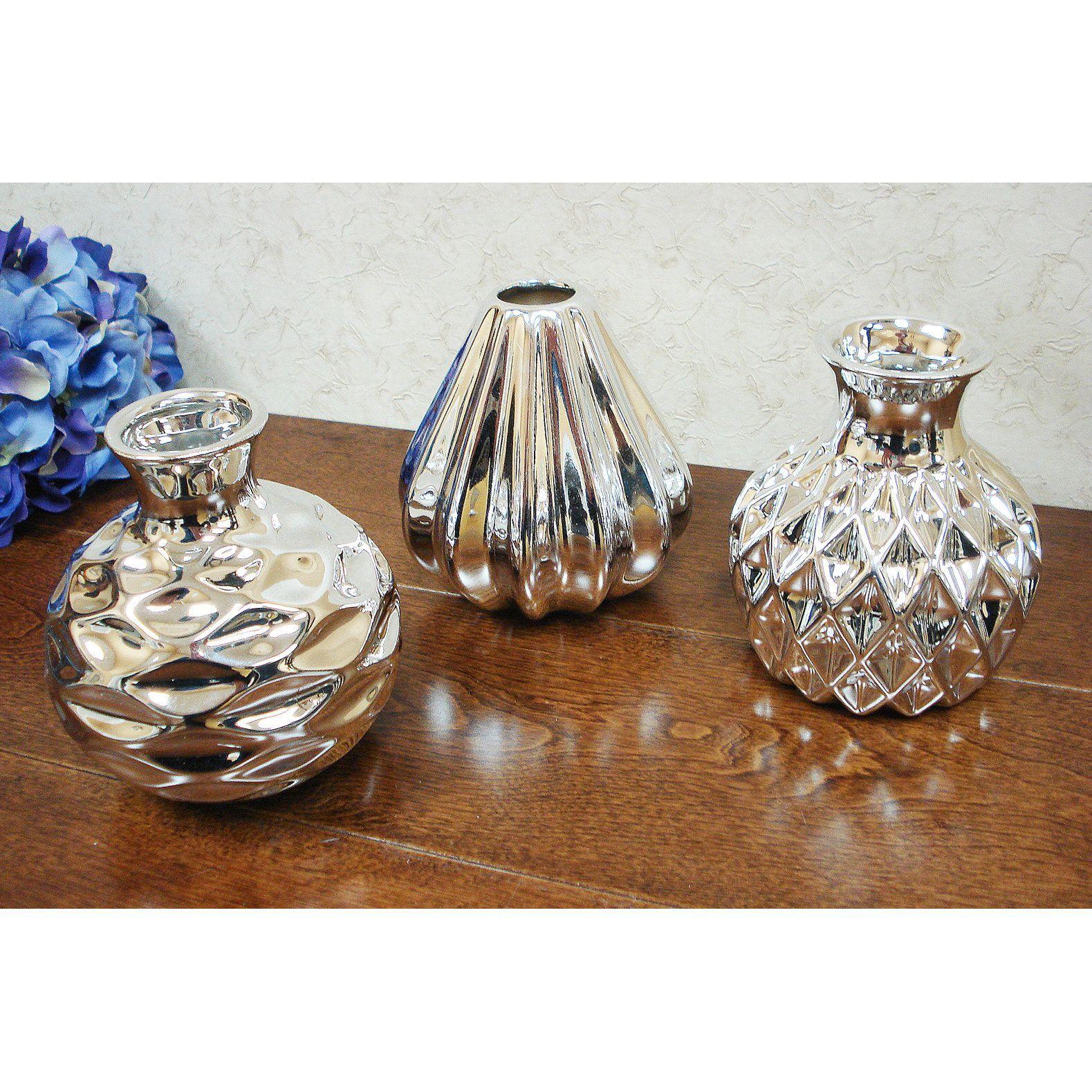Lusso D'Lusso Designs Bella Silver Ceramic Small Amphora Vase (Set of 3) (Silver)