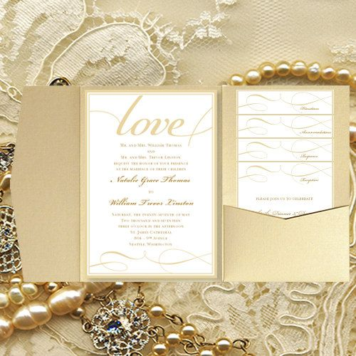 """Do Your Own Wedding Invitations: DIY Pocket Wedding Invitations """"It's Love"""" Champagne Gold"""
