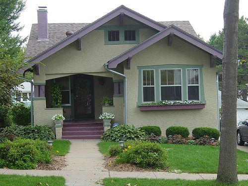 Green With Purple Accents This Is Craftsman Style They Are Lovely Too