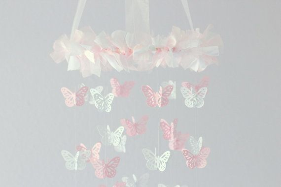 Small Butterfly Mobile- Pink & White- Nursery Decor, Baby Shower Gift, Nursery Mobile
