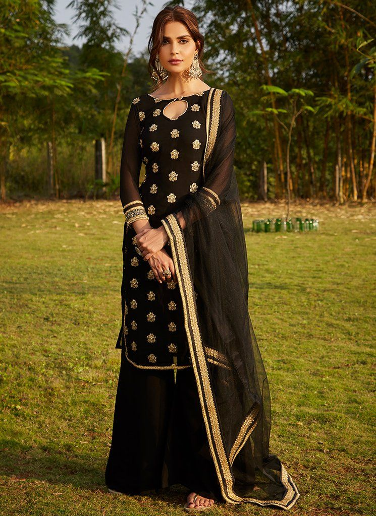 Black and Gold Embroidered Palazzo Suit Indian party