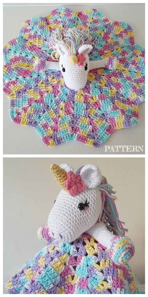 Amigurumi Unicorn Security Blanket Free Crochet Pattern & Paid #securityblankets