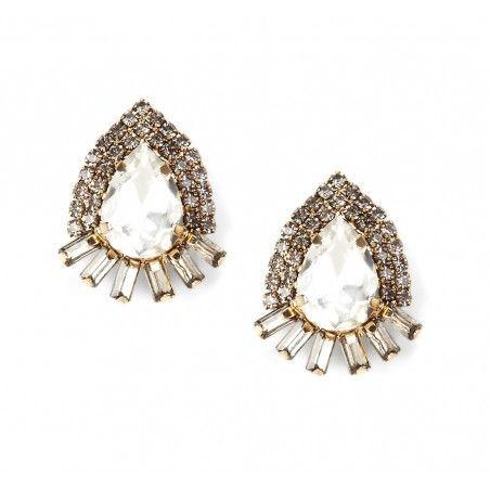 oversized oval crystal stud earrings | jewelry | Pinterest ...