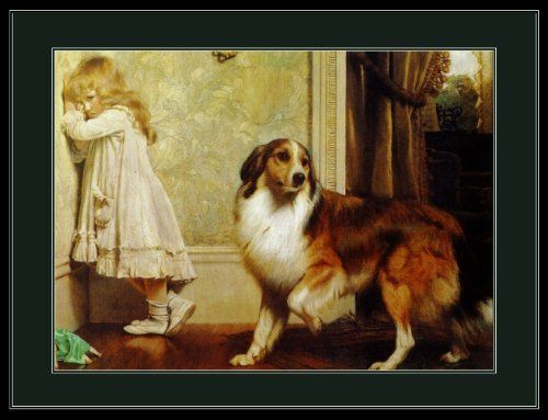 Framed Painted Art With Collies And Little Girl
