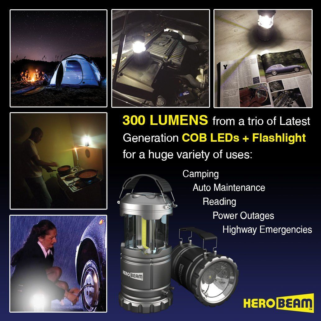 Herobeam Led Lantern V2 0 With Flashlight Latest Cob Technology Emits 300 Lumens Collapsible Tough Lamp Great Light For Camping Car Shop Attic Garage Led Lantern Flashlight Lantern Flashlight