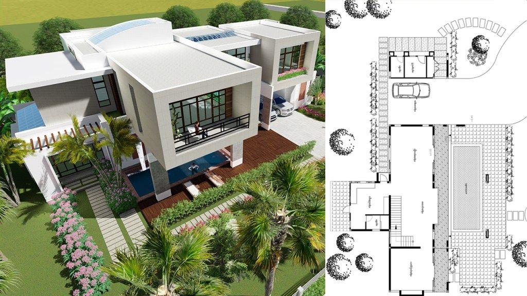 4 Bedrooms Modern Villa Design 27x15 6m Samphoas Plan Modern Villa Design Villa Design Dream House Plans