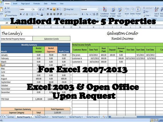 landlords spreadsheet template  rent and expenses spreadsheet  short term rentals