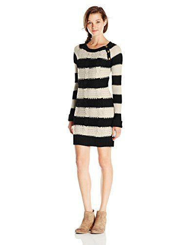 0bb340f11 PINK ROSE Juniors Striped Sweater Dress, Black/Cashew Nut, Medium PINK ROSE  http