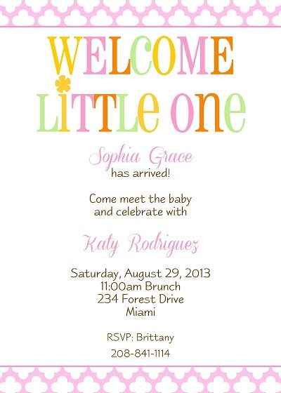 Welcome New Baby Girl Shower Invitation With Pink Floral Design In